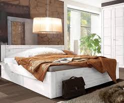 Schlafzimmer Bett 200x200 Bett 200x200 4 Schubladen Komforthöhe 45cm Kiefer Massiv Weiß
