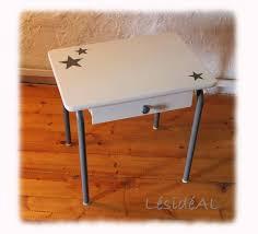 bureau fait maison bureau enfant vintage rétro relooké gris blanc tables lésidéal
