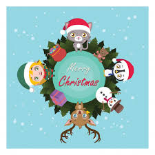 merry around the world with characters vector