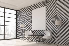 modern interior with black and white diamond pattern wallpaper