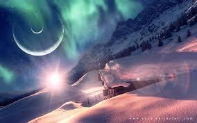 aurora borealis northern lights cabin snow winter planets stars