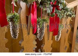 Christmas Banisters Traditional Victorian Christmas Decorations Made Of Fir Cones On