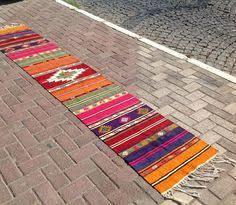 Aztec Runner Rug Colorful Vintage Turkish Hallway Runner Kilim Rug By Kilimrugstore