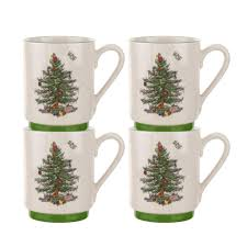 spode tree set of 4 stacking mugs spode usa