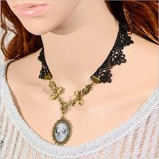 victorian cameo necklace images 1pc vintage victorian cameo necklace gothic black lace necklace jpg