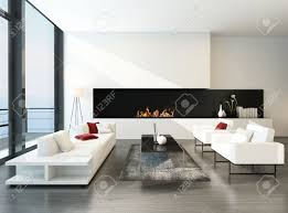 Livingroom Fireplace by Pure Minimalist Living Room Interior With Couch Set And Fireplace