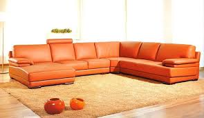orange sectional leather sofa with chaise modern living room