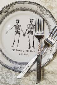 and groom plates customizable skeleton wedding china by angiolettidesigns
