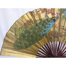 folding fan large vintage painted peacock folding fan chairish
