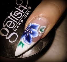 nail art blue flower one stroke design uv gel nail youtube