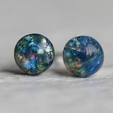 blue opal earrings peacock opal stud earrings by silk purse sow u0027s ear