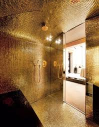 Luxurious Bathroom Gold Glass Tiles For Glowing And Luxury Bathroom Design Bathroom