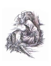 grim reaper with gun tattoo design