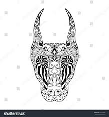 t shirt coloring page zentangle stylized doberman sketch tattoo tshirt stock vector