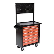 homcom 2 piece rolling tool cabinet storage set with 5 drawers and