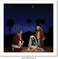 santa and baby jesus picture free print of christmas nativity with santa claus christmas