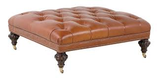 Large Leather Ottoman Sofa Burnt Orange Ottoman Large Square Ottoman Orange Cube