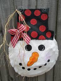 snowman christmas burlap door hanger door by nursejeanneg on etsy