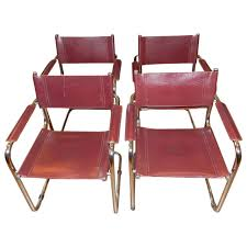 Italian Leather Dining Chair Set Of Four Matteo Grassi Leather Chairs With Chrome Frames At 1stdibs