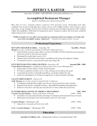 resume for restaurant manager resume for your job application