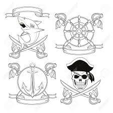 skull sword shark anchor rudder ribbon pirate