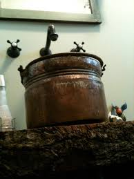 copper bucket vessel sink the pink pixie forest