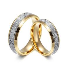 gold promise rings 2017 6mm 18k gold plated rings with frosted design 316l