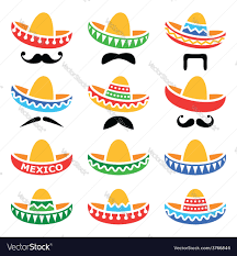 cartoon sombrero mexican sombrero hat with moustache or mustache vector image