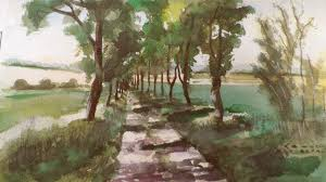 watercolour painting road with trees landscape by vamos youtube