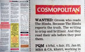 Seeking Troll Trolled A Fan Of The Hindu Posts Matrimonial Ad In Mumbai Mirror