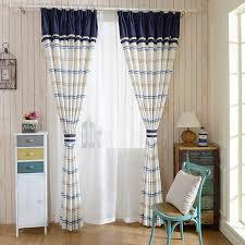 Blue And White Striped Drapes Simplement Blue White Cotton Linen Striped Curtains