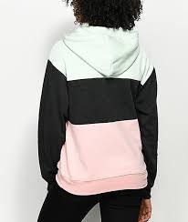 zine shenae pink green u0026 grey colorblock hoodie zumiez
