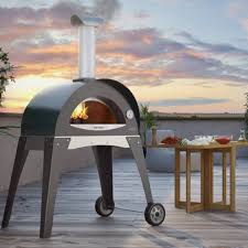 this portable grill cooks up wood fired pizza in your backyard