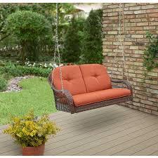 Porch Swing With Cushions Decor Minimalist Wicker Porch Swing With Orange Cushion