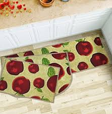 Apple Kitchen Rug Sets Wolala Home 3 Piece Sets Rubber Backing Non Slip Red Apple Design