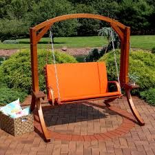 Wooden Patio Decks by Sunnydaze Deluxe 2 Person Wooden Patio Swing With Burnt Orange