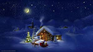 download wallpaper new year christmas tree snow cabin free