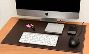 Brown Leather Desk Accessories Computer Leather Desk Pad Stylish Mat Cover