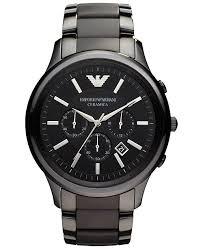 ceramic bracelet watches images Emporio armani men 39 s chronograph black ceramic bracelet watch 47mm tif