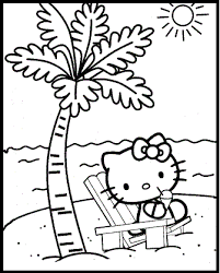 Hello Kitty At The Beach Summer Coloring Picture For Kids Summer Hello Tree Coloring Page