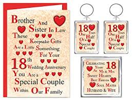 18th anniversary gifts in 18th wedding anniversary gift set card