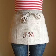 personalized apron etsy monogram linen utility apron gardening half teachers waitress