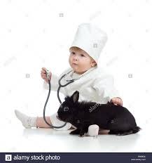 cute child doctor with pet isolated on white stock photo royalty
