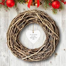 personalised rustic large wooden wreath with heart