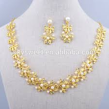 white stone necklace sets images Gold pearl jewelry set white stone 18 carat gold jewelry sets jpg
