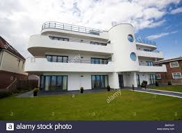 modern art deco style house at frinton on sea essex uk stock