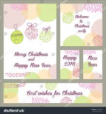 holiday invitation cards set pastel hand drawn cards merry stock vector 328192400