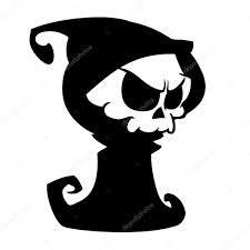 halloween clipart black background cartoon grim reaper with scythe isolated on a white background
