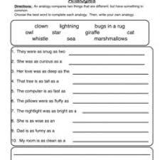 analogies worksheet 6th grade free worksheets library download