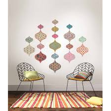 wall pops boho chic ogee large wall art decal kit walmart com